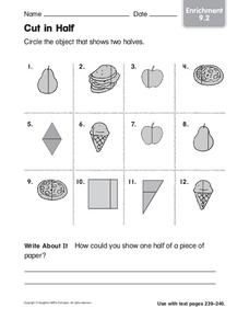 Cut in Half Worksheet