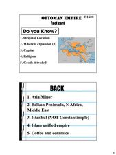 OTTOMAN EMPIRE  Fact card Lesson Plan