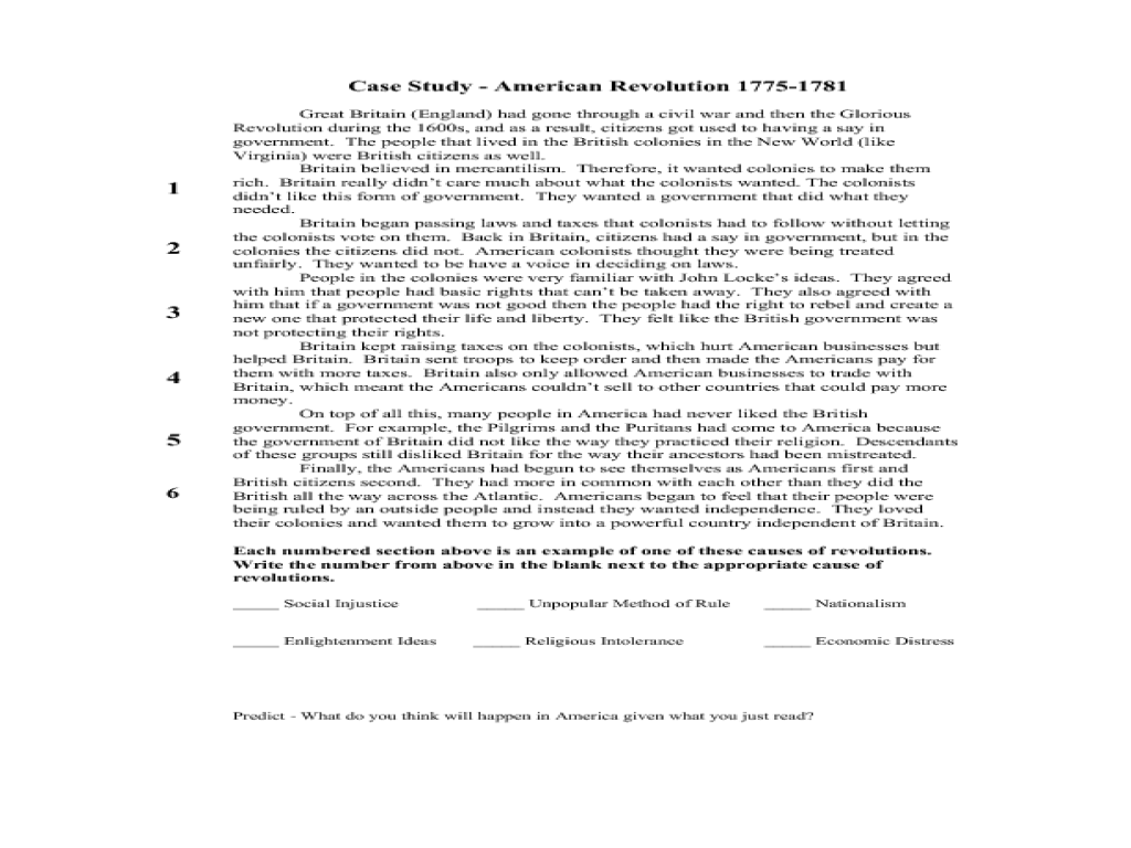 Case Study American Revolution 17751781 7th 11th Grade Lesson – Causes of the American Revolution Worksheet