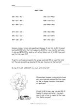 Add Three Groups of Numbers Worksheet