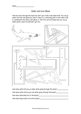 Under and Over Maze Worksheet