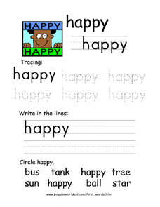 The Word 'Happy' Worksheet