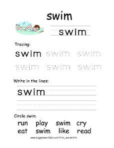 First Word: Swim Worksheet