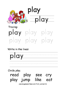 First Word: Play Worksheet