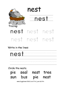 First Word: Nest Worksheet