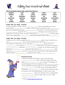 Fantasy Wizards and Witches Cloze Activity Worksheet