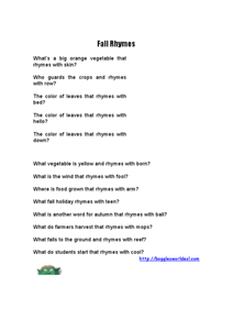 Fall Rhymes Worksheet