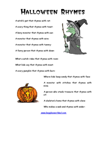 Halloween Rhymes Worksheet