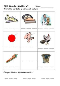 CVC Words: Middle e Worksheet