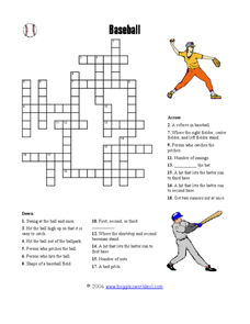 Baseball Crossword Worksheet