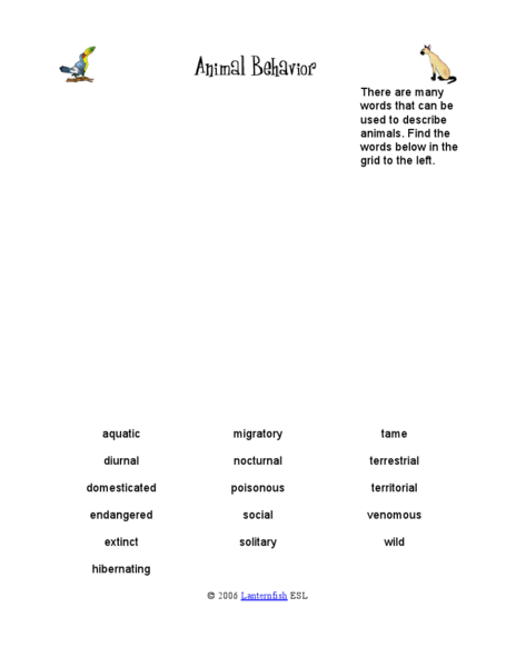 animal behavior word search worksheet for 2nd 4th grade lesson planet. Black Bedroom Furniture Sets. Home Design Ideas