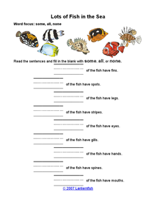 Lots of Fish in the Sea Worksheet