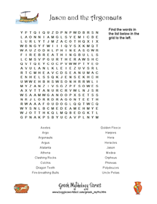 Jason and the Argonauts Word Search Worksheet