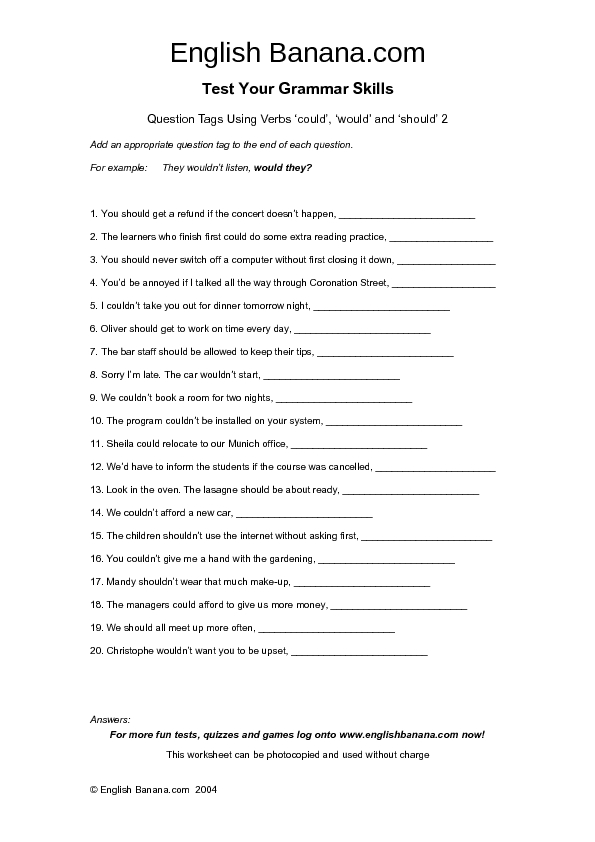 Question Tags Lesson Plans Worksheets Reviewed By Teachers. Question Tags Using Verbs Could Would And Should 2. Worksheet. Worksheet Question Tags English At Clickcart.co