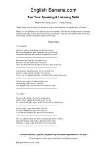 "Match the Song Lyrics - ""Keep Going"" Worksheet"