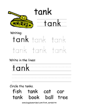 First Word: Tank Worksheet