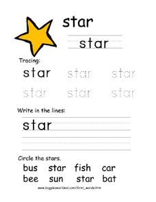 First Word: Star Worksheet