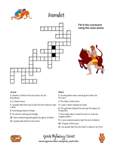 Hercules Crossword Puzzle Worksheet