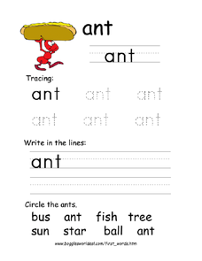 First Word: Ant Worksheet