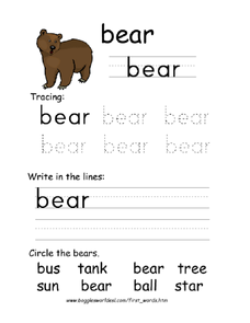 First Word: Bear Worksheet