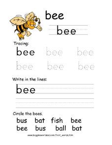 First Word: Bee Worksheet