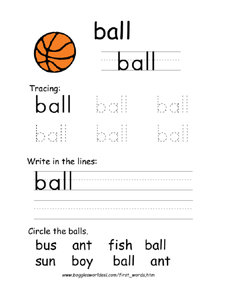 First Word: Ball Worksheet