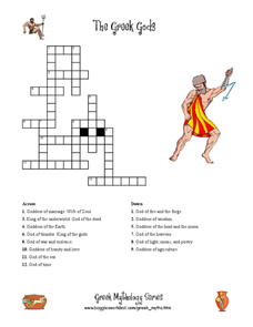 The Greek Gods Crossword Puzzle Worksheet