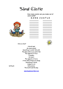 Sand Castle Worksheet