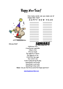 Happy New Year Word Challenge Worksheet