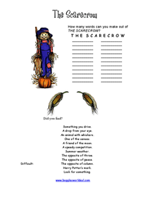 The Scarecrow Word Challenge Worksheet