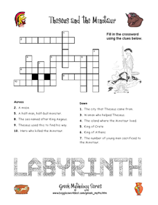 Theseus and the Minotaur Crossword Puzzle Worksheet