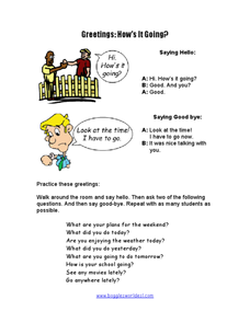 Greetings, How's it Going? Worksheet