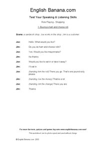 Role Playing: Shopping Worksheet