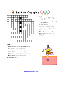 Summer Olympics Crossword Puzzle Worksheet