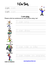 I can sing Worksheet