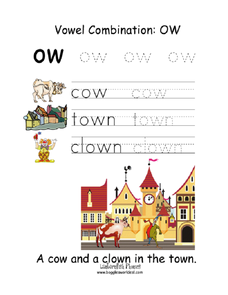 Vowel Combination: Ow Worksheet