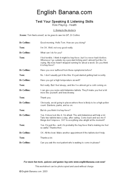 ESL Role Playing: Going To The Doctor Worksheet