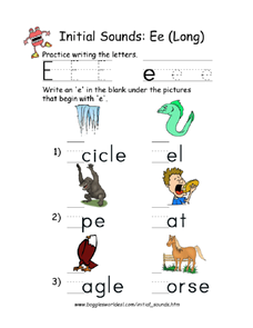 Initial sound: long e Worksheet