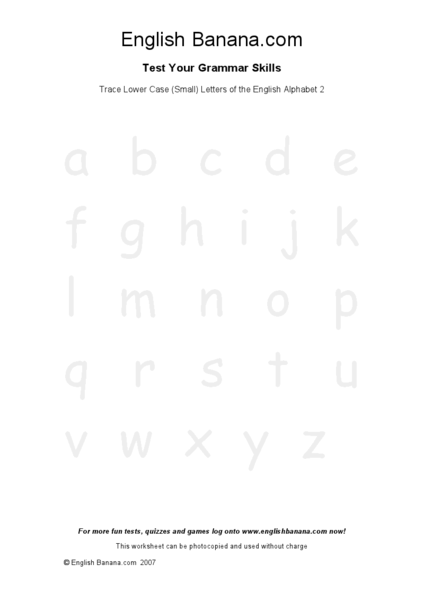 Trace Lowercase Letters of the Alphabet 2 Worksheet