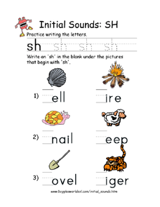Initial Sounds: Sh Worksheet