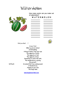 Watermelon Word Challenge Worksheet