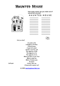 Haunted House Word Challenge Worksheet
