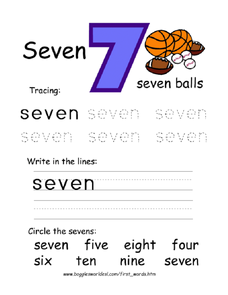 Seven: Tracing and Printing Worksheet