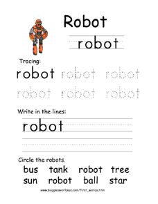 First Word: Robot Worksheet