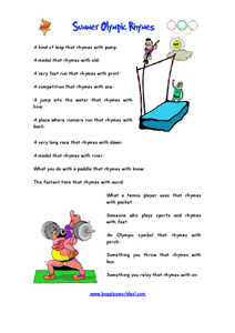 Summer Olympic Rhymes Worksheet