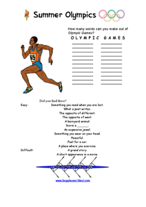 Olympic Games Word Challenge Worksheet
