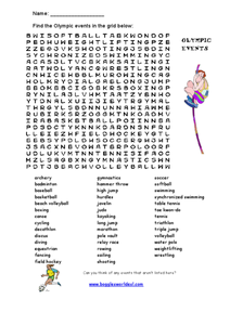 Olympic Events Word Search Worksheet