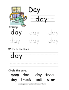 First Word: Day Worksheet
