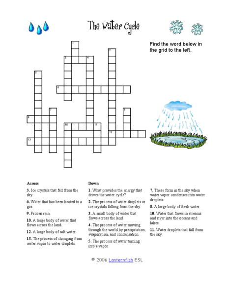 The Water Cycle Crossword Puzzle Worksheet For 3rd 4th