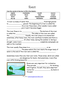 Rivers Cloze Activity Worksheet